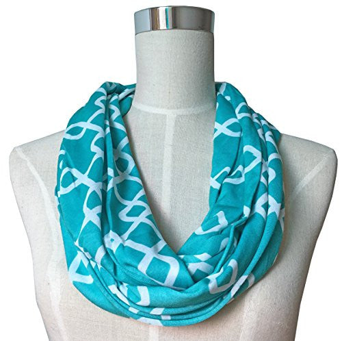 Womens Interlocking Chain Square Pattern Scarf w/ Zipper Pocket - Pop Fashion (Teal)