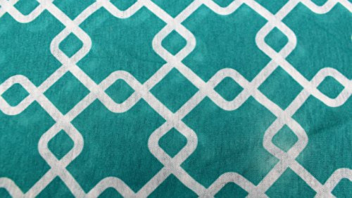 Womens Interlocking Chain Square Pattern Scarf w/ Zipper Pocket - Pop Fashion (Teal) - Pop Fashion