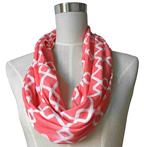 Womens Interlocking Chain Square Pattern Scarf w/ Zipper Pocket - Pop Fashion (Coral)