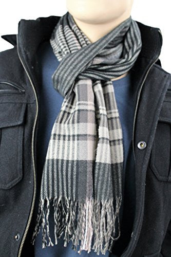 Mens Plaid Woven Scarves with Soft Cashmere Like Feel (Black/Brown/White)