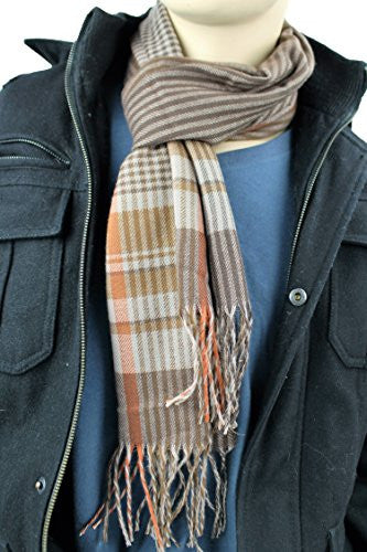 Mens Plaid Woven Scarves with Soft Cashmere Like Feel (Brown/Tan/Red)