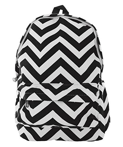 Pop Fashion Women's Canvas Backpack with Chevron Print and Zip Compartment (Black)
