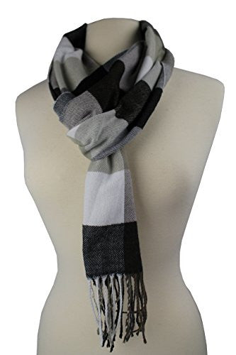 Plaid Pattern Scarf with Ultra Soft Feel for Men and Women (Navy/Gray/White/Tan)