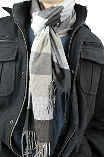Plaid Pattern Scarf with Ultra Soft Feel for Men and Women (Navy/Gray/White/Tan) - Pop Fashion