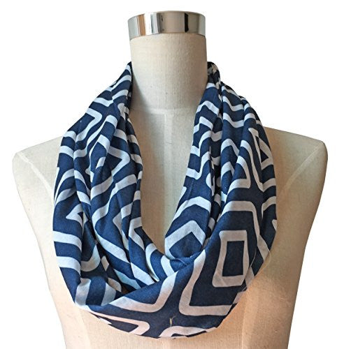 Womens Square Inside of Square Pattern Scarf w/ Zipper Pocket - Pop Fashion (Navy)