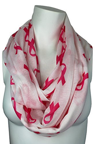 Breast Cancer Awareness White Scarf w/ Pink Ribbon and Zipper Pocket - Pop Fashion (White)