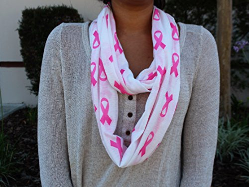 Breast Cancer Awareness White Scarf w/ Pink Ribbon and Zipper Pocket - Pop Fashion (White) - Pop Fashion
