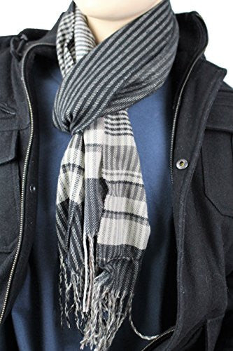 Mens Plaid Woven Scarves with Soft Cashmere Like Feel (Black/White) - Pop Fashion