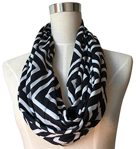 Womens Square Inside of Square Pattern Scarf w/ Zipper Pocket - Pop Fashion (Black)