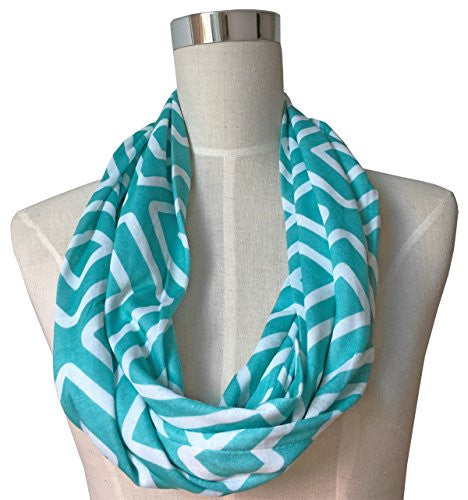 Womens Square Inside of Square Pattern Scarf w/ Zipper Pocket - Pop Fashion (Teal)