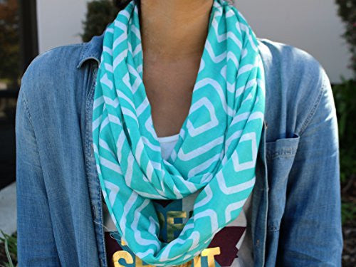 Womens Square Inside of Square Pattern Scarf w/ Zipper Pocket - Pop Fashion (Teal) - Pop Fashion