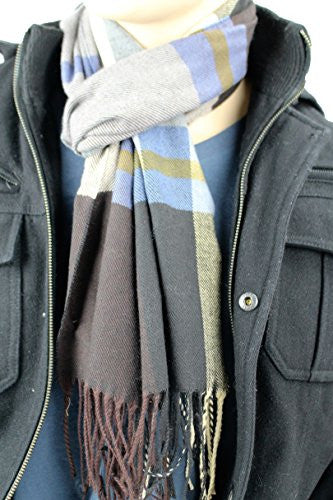 Mens Plaid Woven Scarves with Soft Cashmere Like Feel (Navy/Tan/Blue)