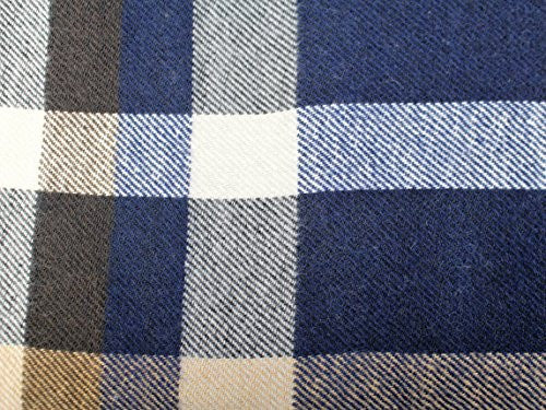 Mens Plaid Woven Scarves with Soft Cashmere Like Feel (Navy/Tan/Blue) - Pop Fashion