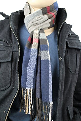 Mens Plaid Woven Scarves with Soft Cashmere Like Feel (Navy/Tan)