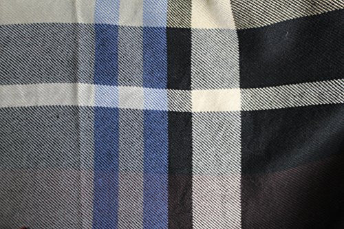 Mens Plaid Woven Scarves with Soft Cashmere Like Feel (Navy/Tan) - Pop Fashion