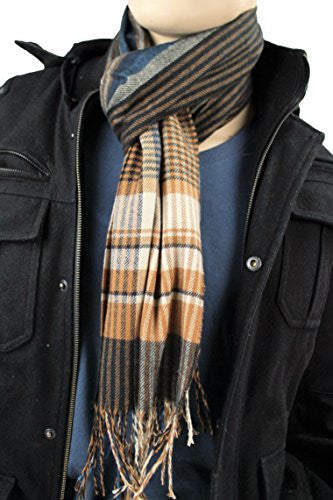 Mens Plaid Woven Scarves with Soft Cashmere Like Feel (Navy/Tan/Brown)