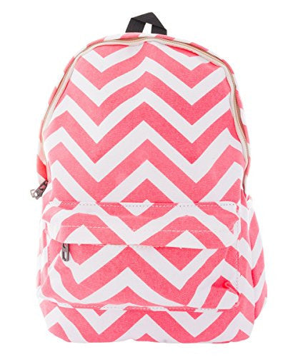 Pop Fashion Women's Canvas Backpack with Chevron Print and Zip Compartment (Pink)