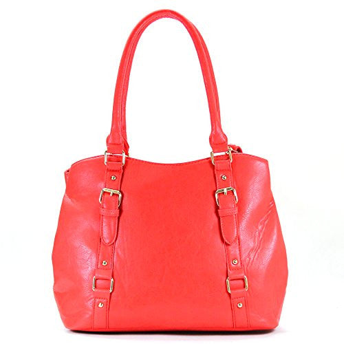 Pop Fashion Womens Casual Trendy Double Buckle Purse Handbag Tote Bag (Strawberry)