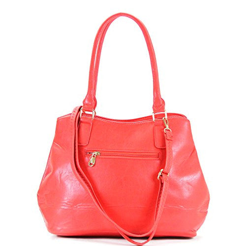 Pop Fashion Womens Casual Trendy Double Buckle Purse Handbag Tote Bag (Strawberry) - Pop Fashion