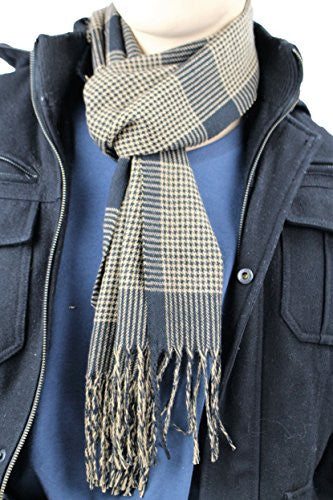 Mens Plaid Woven Scarves with Soft Cashmere Like Feel (Black/Brown)