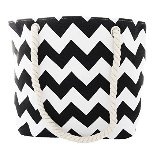 Pop Fashion Women's Top Handle Canvas Tote Bag with Chevron Print and Double Rope Handles (Black)