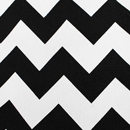 Pop Fashion Women's Top Handle Canvas Tote Bag with Chevron Print and Double Rope Handles (Black) - Pop Fashion