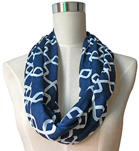 Womens Interlocking Chain Square Pattern Scarf w/ Zipper Pocket - Pop Fashion (Navy)