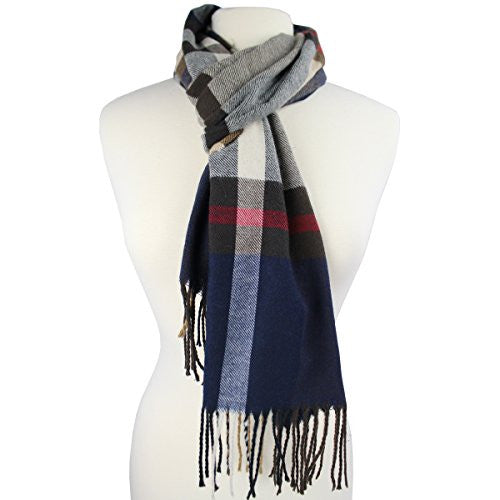 Plaid Pattern Scarf with Ultra Soft Feel for Men and Women (Navy/Gray/Red)