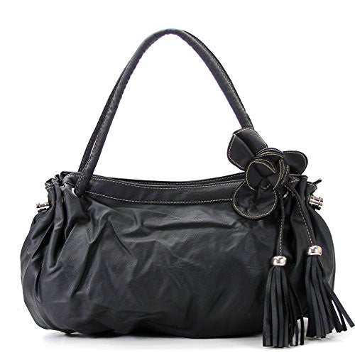 Pop Fashion Womens Casual Trendy Flower Tassell Purse Handbag Tote Bag- Black (Black)