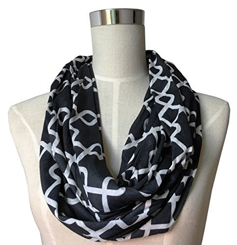 Womens Interlocking Chain Square Pattern Scarf w/ Zipper Pocket - Pop Fashion (Black)