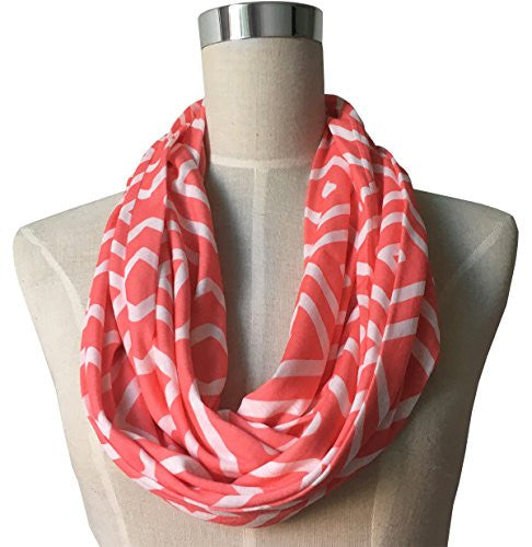 Womens Square Inside of Square Pattern Scarf w/ Zipper Pocket - Pop Fashion (Coral)