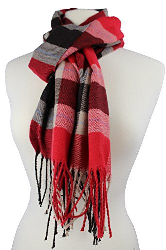 Plaid Pattern Scarf with Ultra Soft Feel for Men and Women (Red/Navy/Tan)