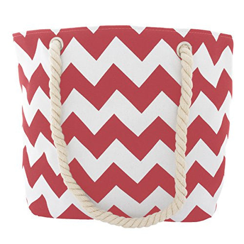 Pop Fashion Women's Top Handle Canvas Tote Bag with Chevron Print and Double Rope Handles (Red)