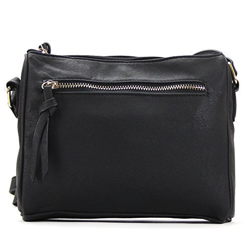 Pop Fashion Womens Classic Shoulder Bag Purse Crossbody Bag (Black)
