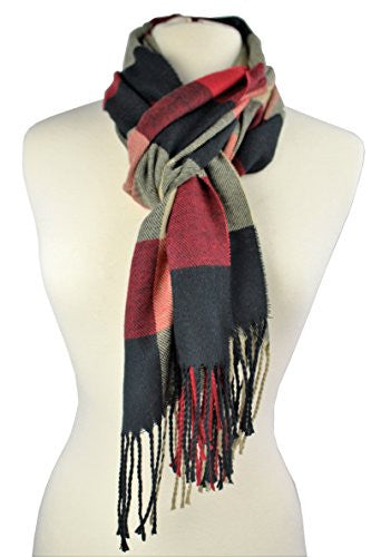 Plaid Pattern Scarf with Ultra Soft Feel for Men and Women (Maroon/Navy/Tan)