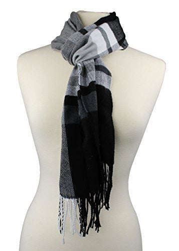 Plaid Pattern Scarf with Ultra Soft Feel for Men and Women (Navy/Gray/White) - Pop Fashion
