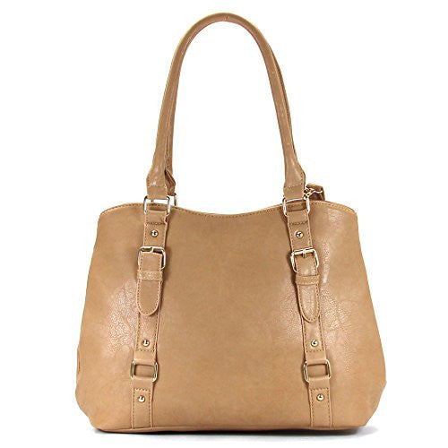 Pop Fashion Womens Casual Trendy Double Buckle Purse Handbag Tote Bag (Khaki)