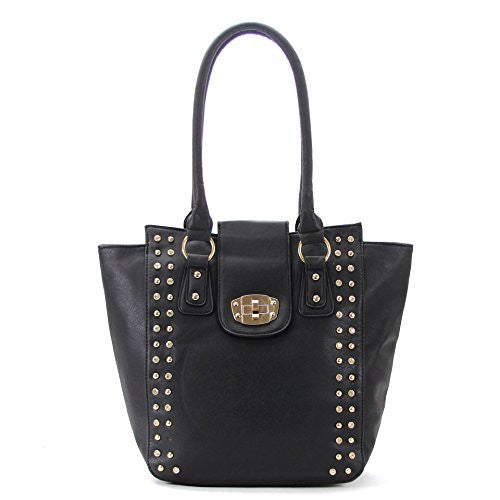 Pop Fashion Womens Classic Universal studded Purse Handbag Tote Bag (Black) - Pop Fashion