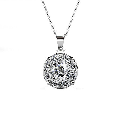 18K White Gold Swarovski Elements Necklace with Center Round Stone and Pave Surround
