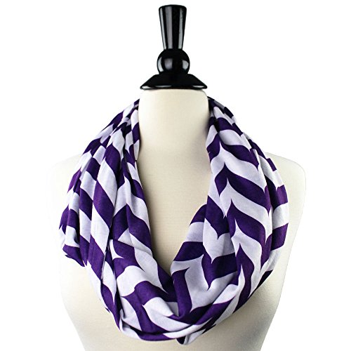 Pop Fashion Womens Chevron Arrow Patterned Infinity Scarf with Hidden Zipper Pocket