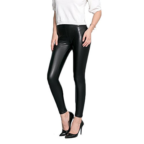 Womens Faux Leather Leggings Sexy Tight Fit High Waisted Pants - Pop Fashion