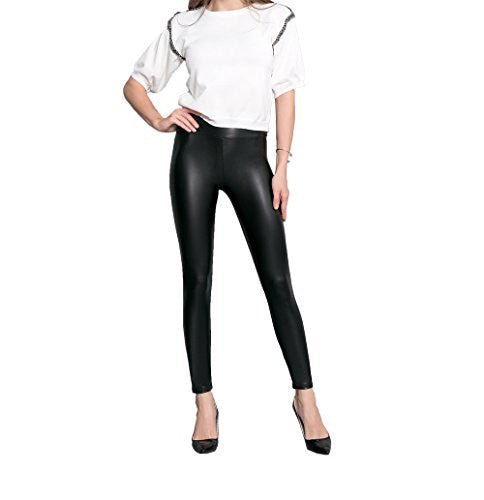 Womens Faux Leather Leggings Sexy Tight Fit High Waisted Pants - Pop Fashion - Pop Fashion