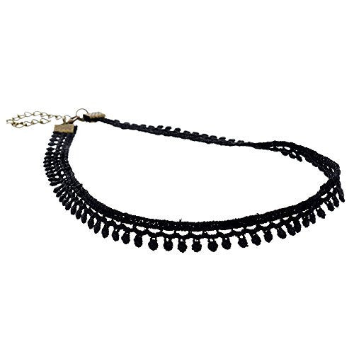 Black Velvet Choker Necklace with Lace Trim Design - Pop Fashion (Dainty Round Trim Lace Chocker) - Pop Fashion