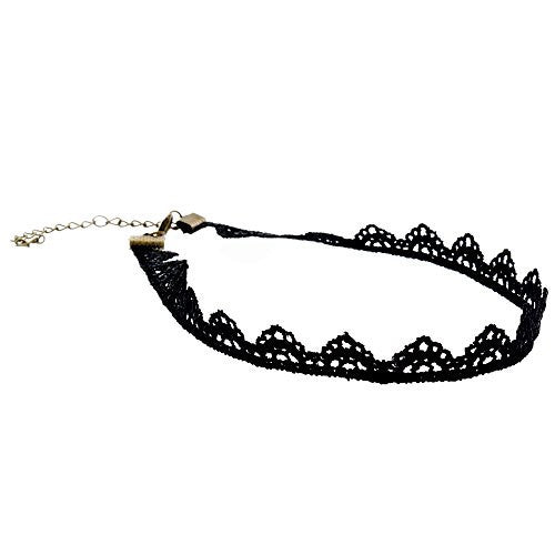 Black Velvet Choker Necklace with Lace Trim Design - Pop Fashion (Geometric Triangle Trim Lace Choker) - Pop Fashion