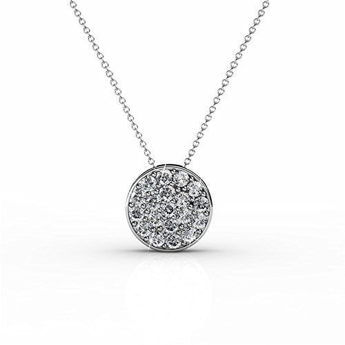18K White Gold Swarovski Elements Necklace with Crystal Pendant (White Gold) - Pop Fashion