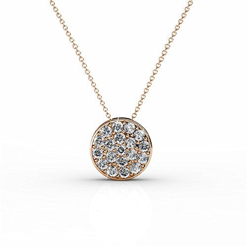 18K White Gold Swarovski Elements Necklace with Crystal Pendant (Rose Gold)