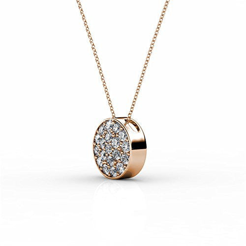 18K White Gold Swarovski Elements Necklace with Crystal Pendant (Rose Gold) - Pop Fashion