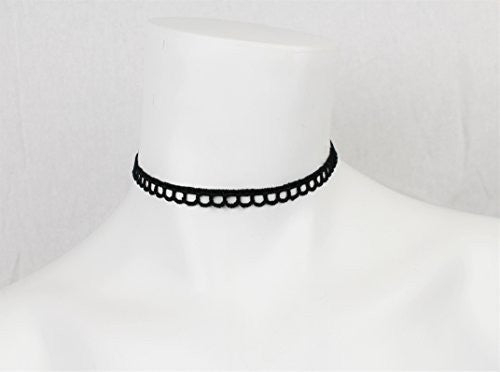 Black Velvet Choker Necklace with Lace Trim Design - Pop Fashion (Scalloped Trim Lace Choker) - Pop Fashion