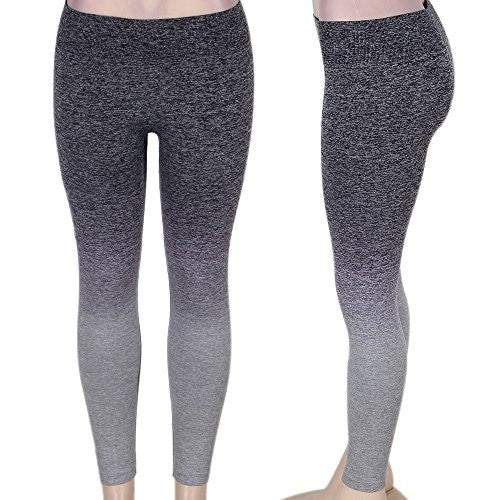Womens Leggings Pants for Yoga, Workout, Running, Crossfit - Grey Gradient