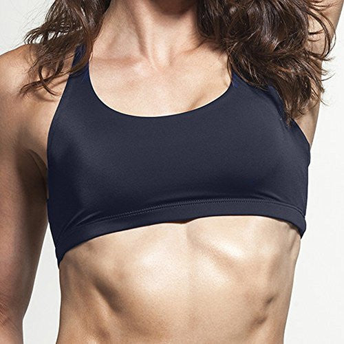 Women's Sports Bra with four criss cross straps and removable padding - Pop Fashion
